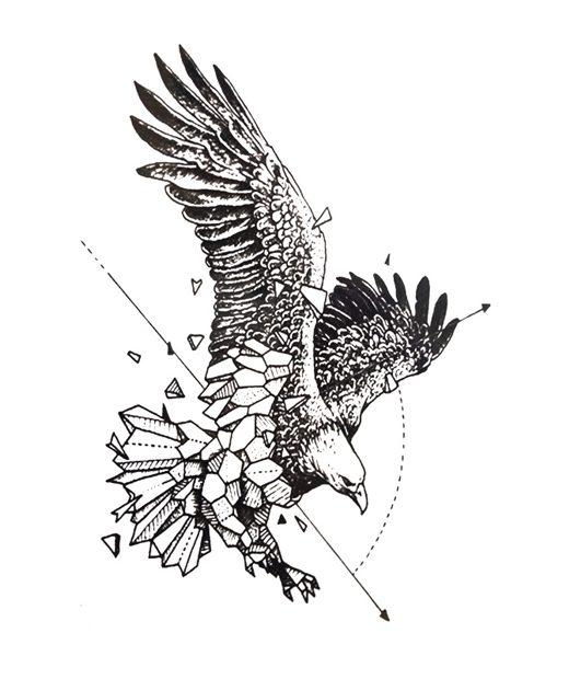 tatuaje temporal aguila geometrica feel tattoo