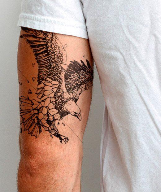 tatuaje temporal aguila geometrica modelo feel tattoo