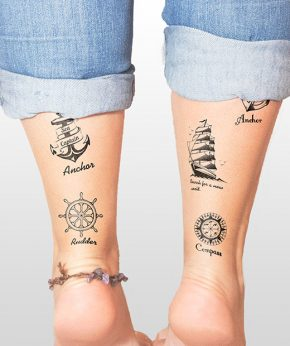 tatuaje temporal anclas y timones modelo feel tattoo