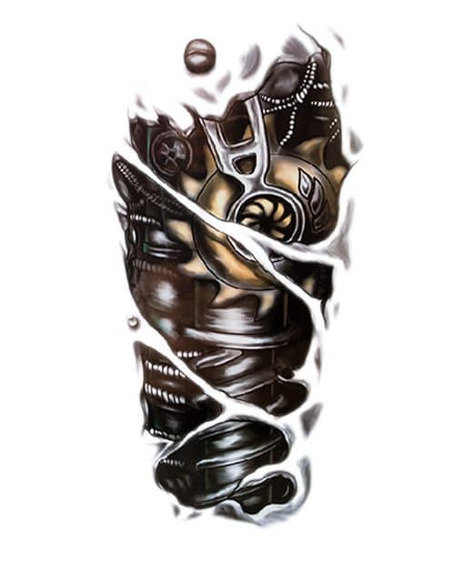 tatuaje temporal biomecanico engranajes feel tattoo
