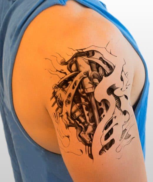 tatuaje temporal biomecanico perforadora modelo feel tattoo