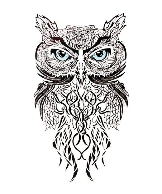 tatuaje temporal buho tribal feel tattoo