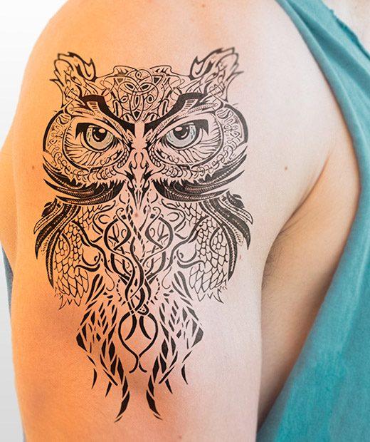 tatuaje temporal buho tribal modelo feel tattoo