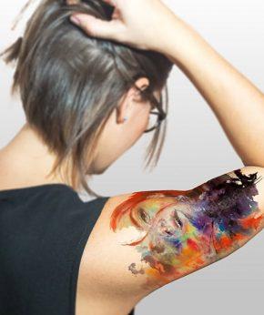tatuaje temporal chica acuarela modelo feel tattoo