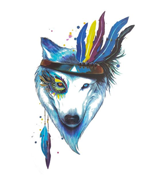 tatuaje temporal lobo nativo feel tattoo