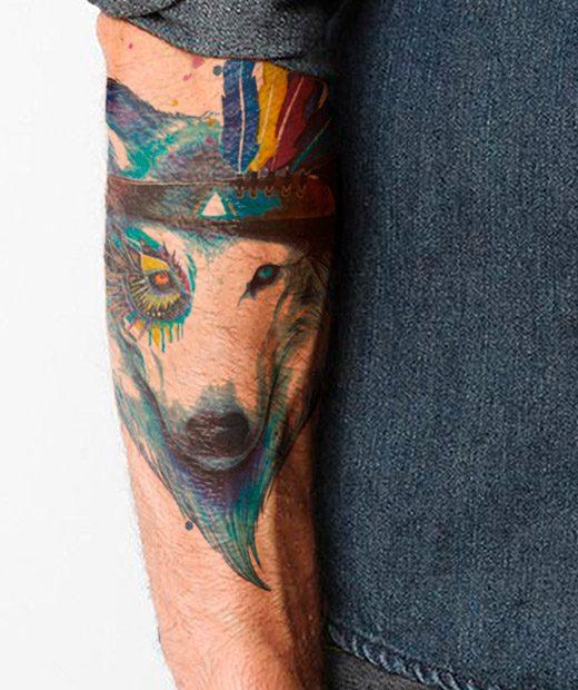 tatuaje temporal lobo nativo modelo feel tattoo