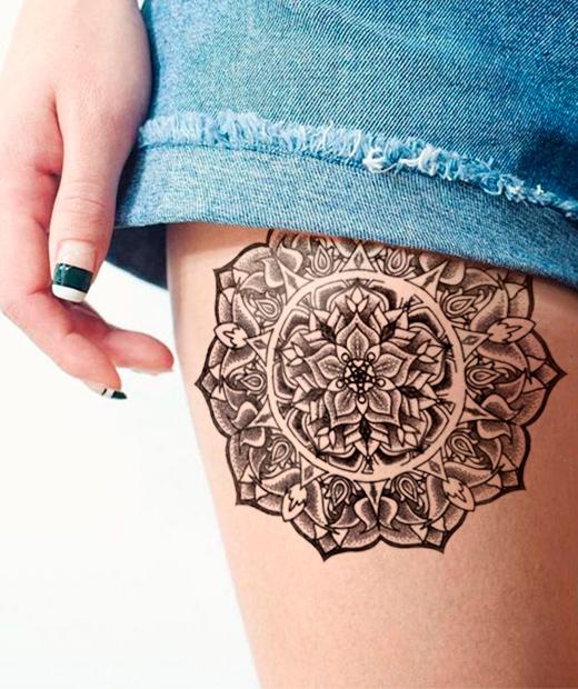 tatuaje temporal mandala harmony modelo feel tattoo