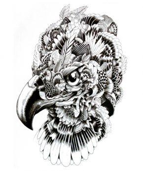tatuaje temporal aguila coronada