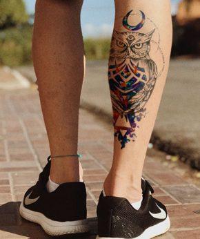 tatuaje temporal buho ajna modelo feel tattoo